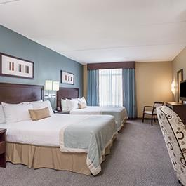 A double queen bedroom at the Wingate by Wyndham Hotel in Regina SK