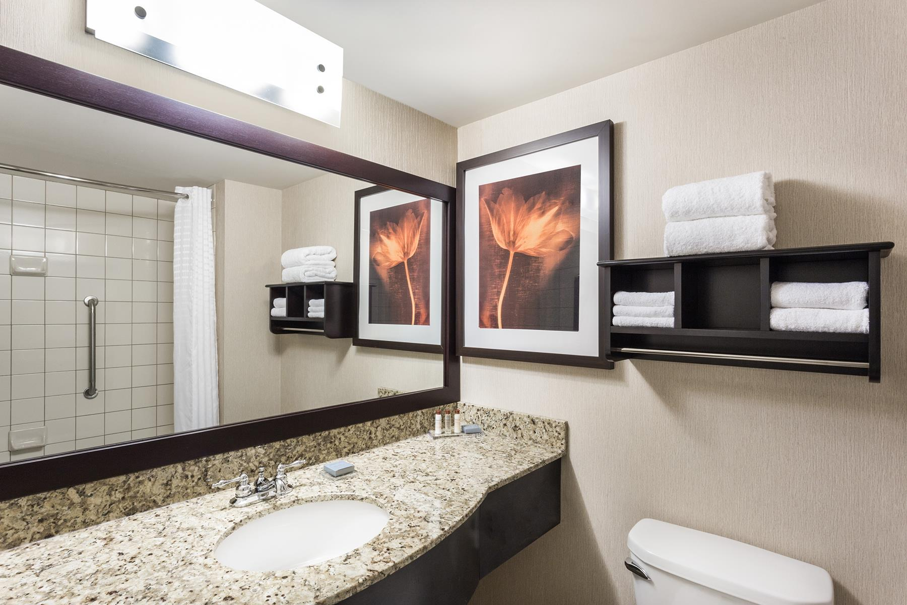 The spacious and beautiful bathroom of a suite at the Wingate by Wyndham Hotel in Regina SK