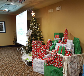 Wheatland Room decorated for Christmas party at the Wingate by Wyndham Regina