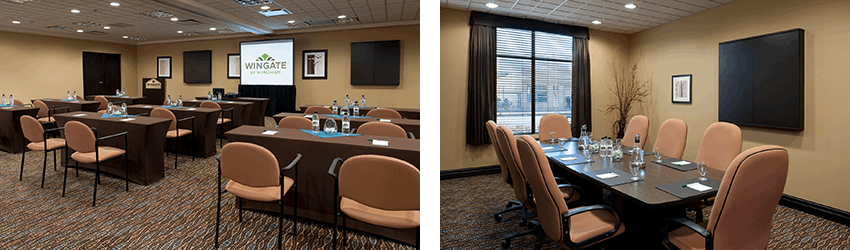 Two spacious meeting rooms at the Wingate by Wyndham resort in Regina SK one having a projector